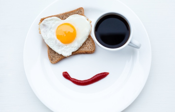 Picture smile, creative, coffee, food, Breakfast, plate, bread, mug, scrambled eggs, ketchup