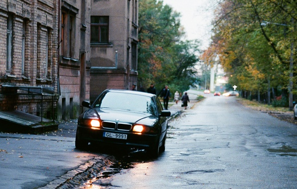 Picture the city, street, building, home, yard, the bandits, Russia, Boomer, seven, e38, Beha, bmw 740