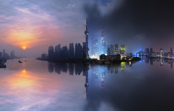 Picture China, Shanghai, City, Light, Clouds, Sky, Sun, Water, Urban, Night, Street, Sunrise, Summer, Building, River, …