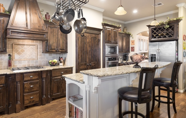 Picture design, style, furniture, chairs, refrigerator, kitchen, dishes