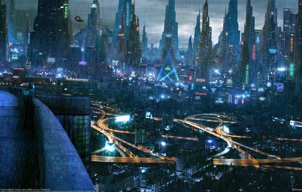 Picture night, the city, rain, Akimov Mikhail, Mikhail Akimov