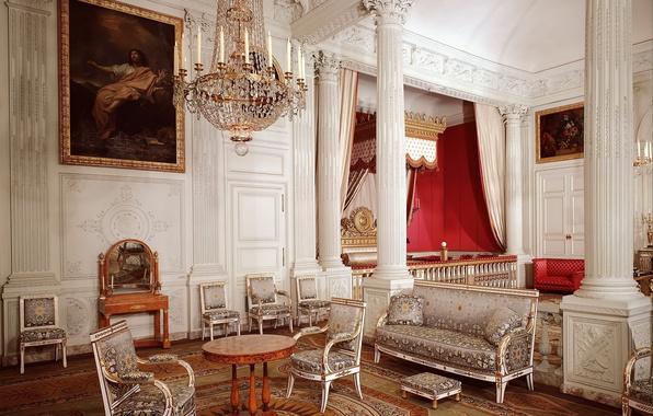 Picture design, retro, patterns, chairs, interior, picture, chandelier, columns