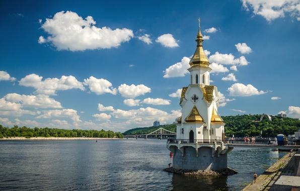 Picture the sky, clouds, trees, river, Ukraine, promenade, Kiev, Dnepr, The Church Of St. Nicholas
