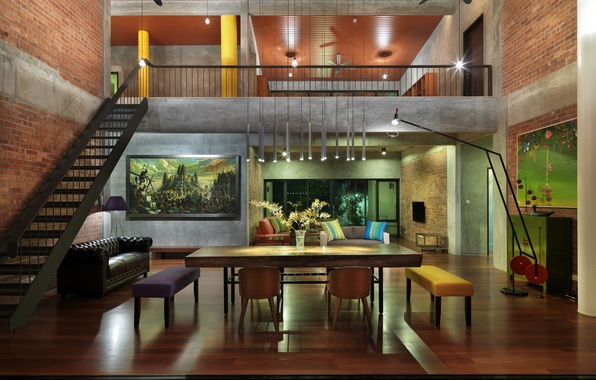 Picture house, interior, ladder, furniture.design
