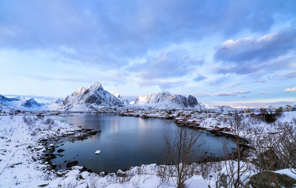 Picture winter, sea, snow, mountains, home, Norway, the village, Lofoten