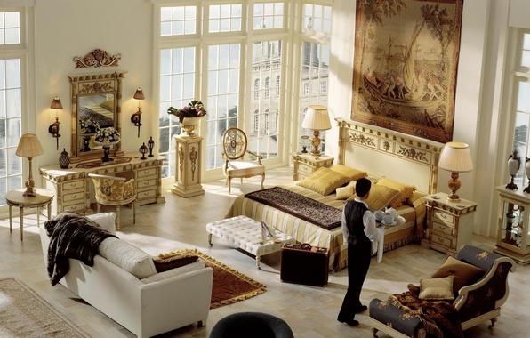 Picture design, style, room, sofa, carpet, furniture, people, lamp, bed, interior, picture, mirror, suitcase, stand, trellis