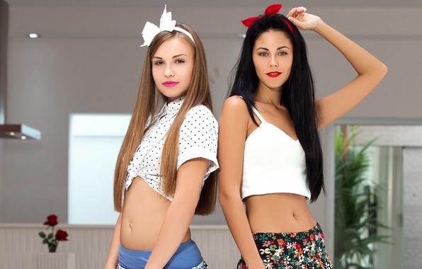 Picture girls, tummy, skirt, playboy, Mike, brunette, brown hair, top, model, girls, models, Angel B, Pamela, …