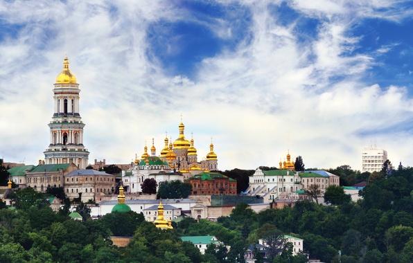 Picture the sky, the city, photo, Cathedral, temple, Ukraine, the monastery, Kiev, Kiev-Pechersk Lavra