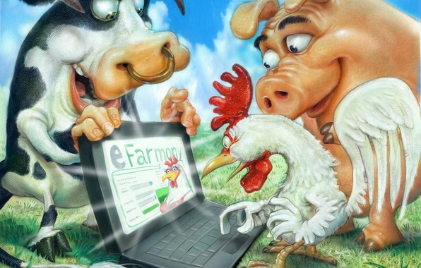Picture computer, pig, farm, cock, bull