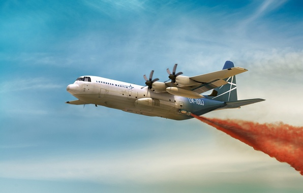 Picture flight, the plane, military transport, Hercules, LM-100J