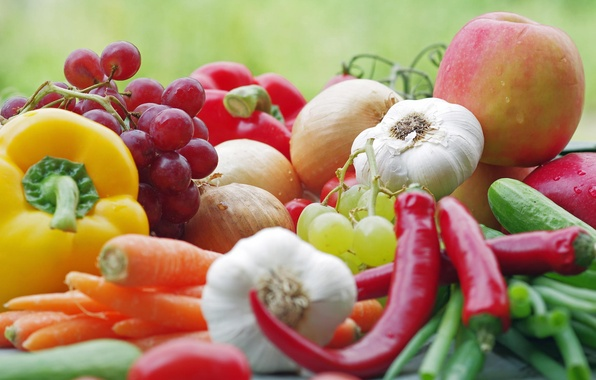 Picture macro, Apple, food, bow, grapes, pepper, fruit, vegetables, tomato, garlic