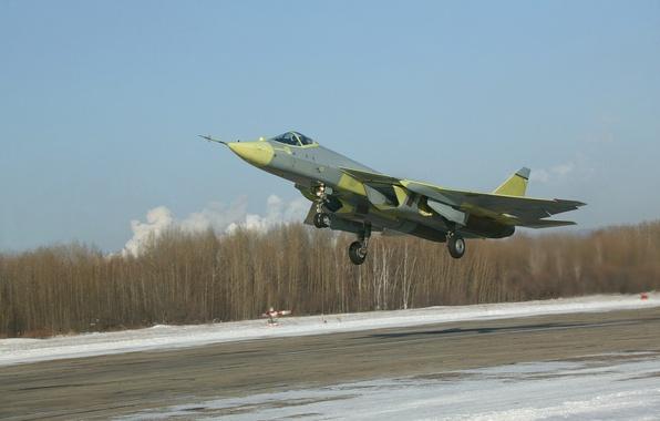 Picture Winter, The plane, Fighter, Day, Russia, T-50, Aviation, BBC, Multipurpose, The rise, PAK FA, The …