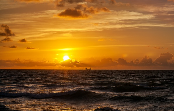 Picture sea, the sky, the sun, clouds, dawn, morning, horizon
