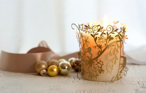 Picture balls, pattern, candle, New Year, Christmas, tape, the scenery, Christmas, gold, candle, holidays, Christmas decorations, …