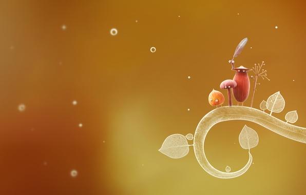 Picture eyes, leaves, bubbles, mushroom, branch, art, creatures, mugs, acorn, botanicula, SLiD3