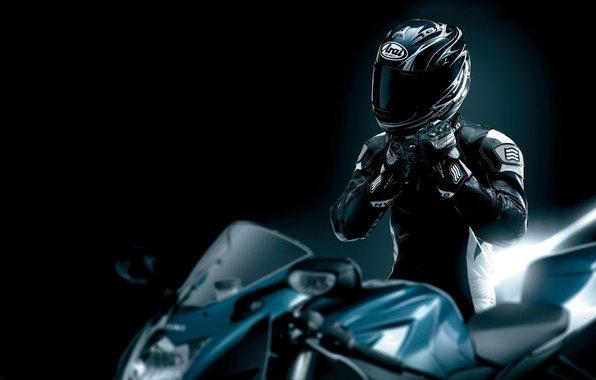 Picture black, leather, motorcycle, helmet, motorcyclist