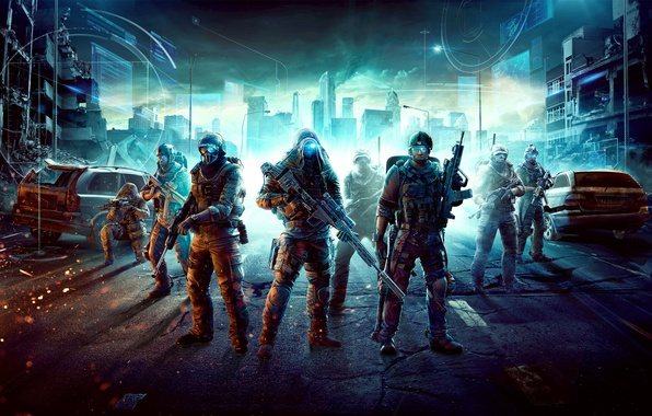 Picture machine, the city, weapons, hood, soldiers, helmet, ruins, Future Soldier, Ghost Recon, lights