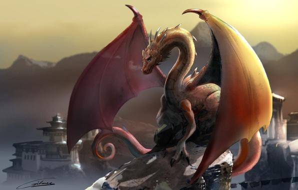 Picture mountains, dragon, Tibet