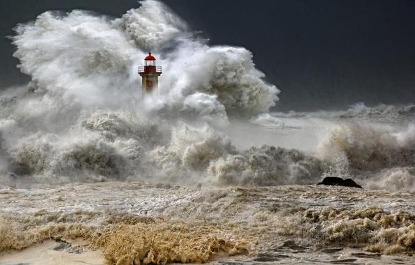 Picture wave, storm, the ocean, element, lighthouse, storm, photo, photographer, Veselin Malinov