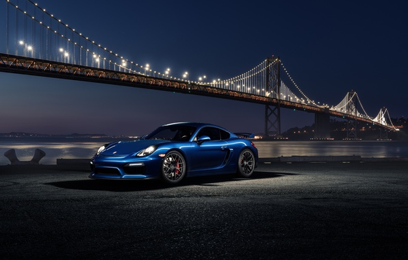 Picture 911, Porsche, Car, Blue, Front, Bridge, Night, Sport, GT4