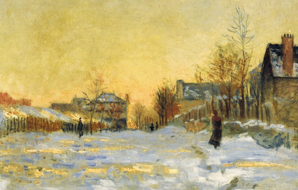 Picture picture, the urban landscape, Claude Monet, The Snow Effect. Street in Argenteuil