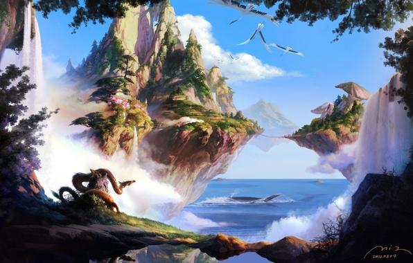 Picture sea, Islands, trees, mountains, birds, bridge, nature, rocks, dragon, mushrooms, waterfall, fantasy, art, flying