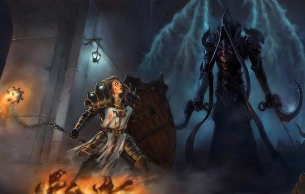 Picture Art, Diablo 3, Warrior, Female, Blizzard Entertainment, Fan Art, Fanart, Shield, Armor, Video Game, Reaper …