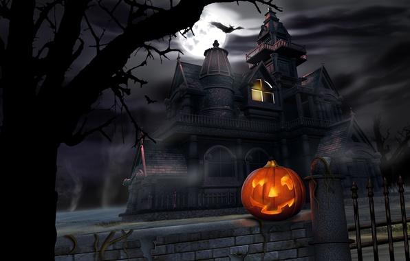 Picture castle, pumpkin, Halloween