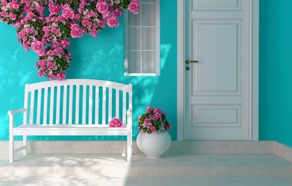Picture flowers, roses, interior, the door, window, shop