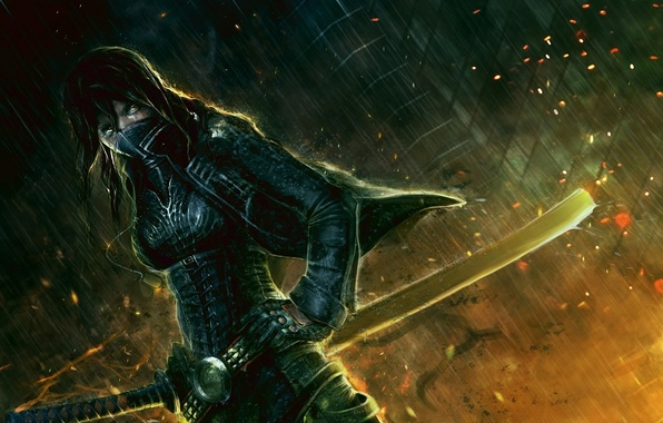 Photo Wallpaper Light Fire Sword Warrior Eye Ninja Mascara