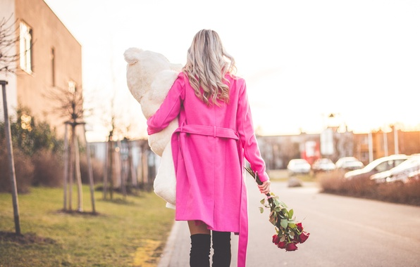Picture girl, flowers, gift, toy, roses, bear, pink, blonde, coat