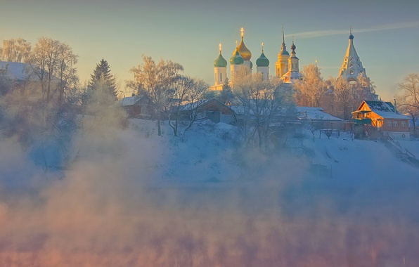 Picture winter, the sky, trees, nature, river, dawn, home, frost, Church, temple, architecture, the monastery, Kolomna, …