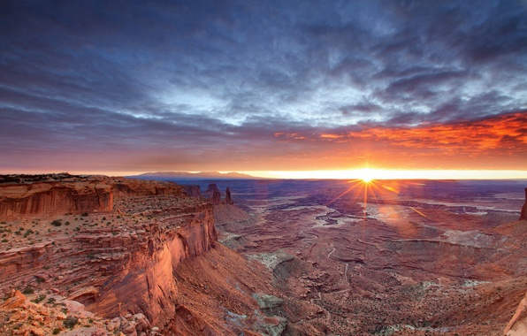 Picture the sky, the sun, rocks, desert, morning, canyon, Utah, USA, Canyonlands National Park, Canyonlands national ...