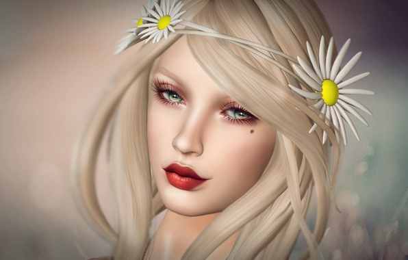 Picture eyes, look, girl, flowers, face, background, hair, lips