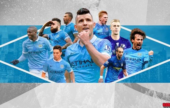 Picture Manchester City, Silva, Manchester City, Aguero, Hart, Otamendi, Yaya Toure, Can happen, Nasri, De Bruyne, ...