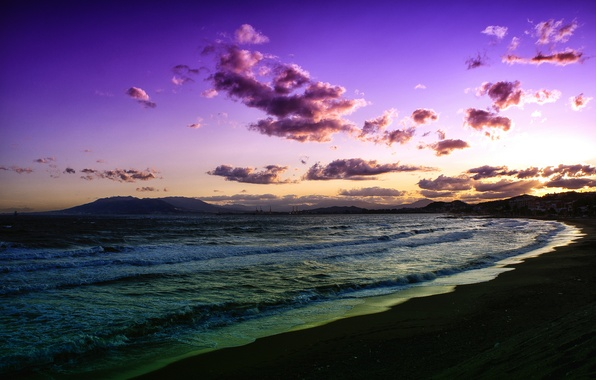 Picture sea, wave, beach, clouds, sunset, lilac