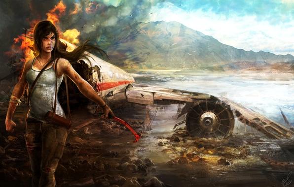 Picture crash, girl, mountains, the plane, fire, island, Tomb Raider, Tomb raider