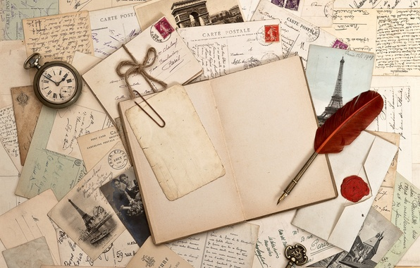 Picture retro, pen, watch, key, book, photos, vintage, vintage, letters, brand