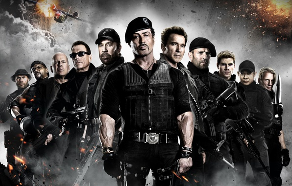 Picture Bruce Willis, Arnold Schwarzenegger, Sylvester Stallone, Chuck Norris, Jean-Claude Van Damme, Jason Statham, The Expendables …