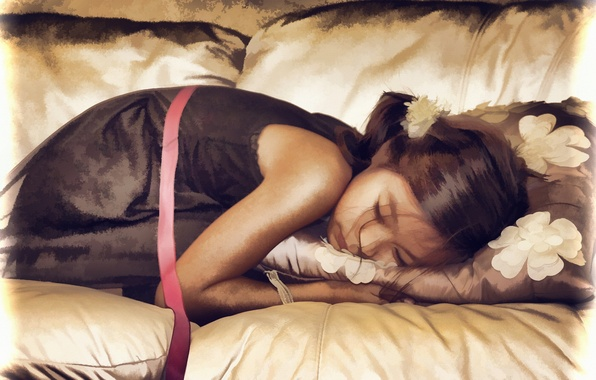 Picture sleep, girl, pillow