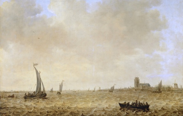 Picture sea, wave, landscape, people, boat, picture, Cathedral, sail, windmill, Jan van Goyen, Seascape with View …
