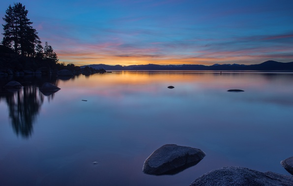 Picture the sky, water, trees, sunset, orange, lake, surface, reflection, stones, shore, the evening, USA, blue