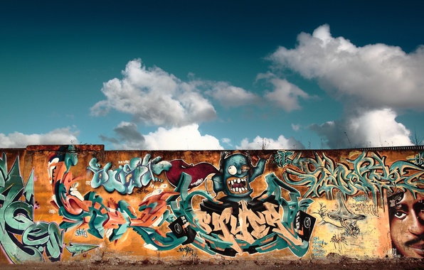 Picture the sky, wall, street, graffiti, figure