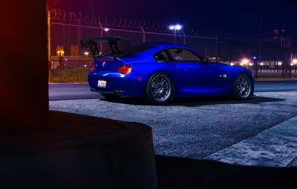 Picture BMW, Dark, Blue, Coupe, Spoiler, Rear, Ligth, Nigth