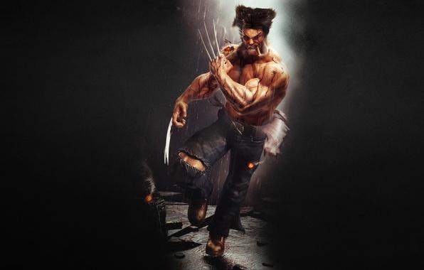 Picture the dark background, rain, running, claws, cigar, evil, Wolverine, Logan, Wolverine, Marvel, x-men, Comics