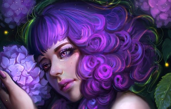 Picture flower, girl, face, hair, beauty, art, hydrangea
