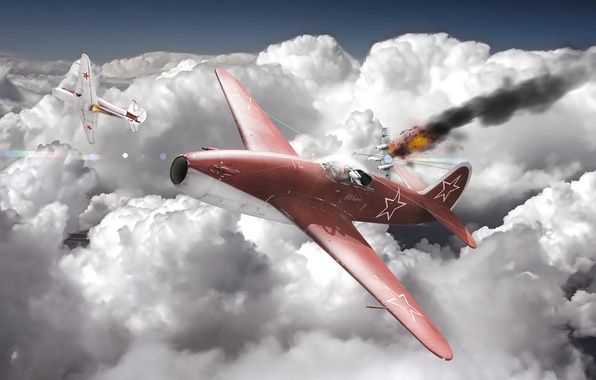 Photo wallpaper As-15, war, the plane, jet, fighter, the sky, war thunder, clouds