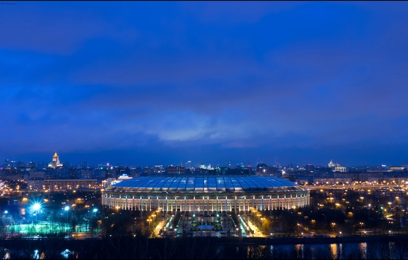 Picture the sky, night, lights, river, lights, Moscow, Russia, promenade, stadium, Luzhniki, Luzhniki Stadium