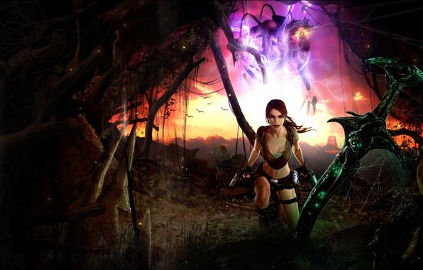 Picture girl, sword, lara croft, tomb raider, legend, Tomb Raider: Legend, excalibur
