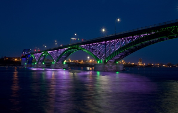 Picture night, bridge, the city, lights, Bay, Peace bridge
